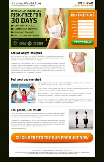 Landing Page Design: Weight loss landing page